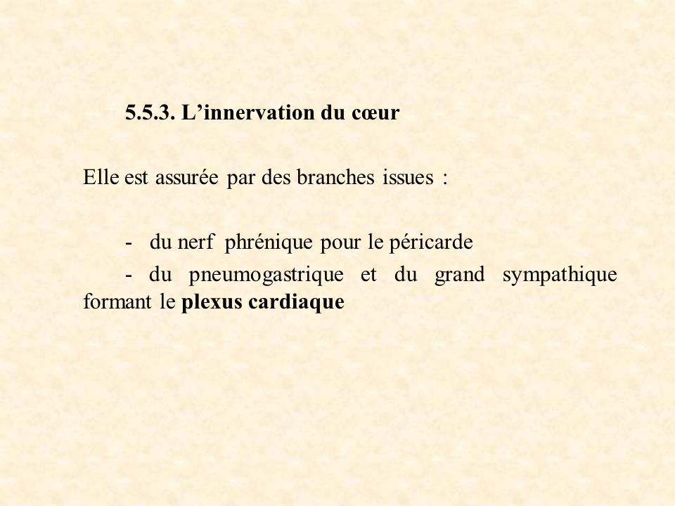 5.5.3. L'innervation du cœur Elle est assurée par des branches issues : - du nerf phrénique pour le péricarde - du pneumogastrique et du grand sympath