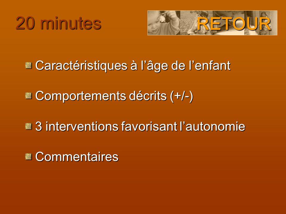 Caractéristiques à l'âge de l'enfant Comportements décrits (+/-) 3 interventions favorisant l'autonomie Commentaires RETOUR 20 minutes