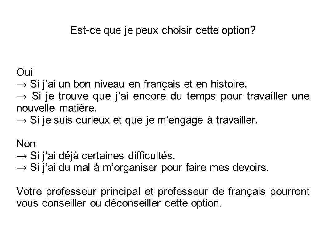 Est-ce que je peux choisir cette option? Oui → Si j'ai un bon niveau en français et en histoire. → Si je trouve que j'ai encore du temps pour travaill
