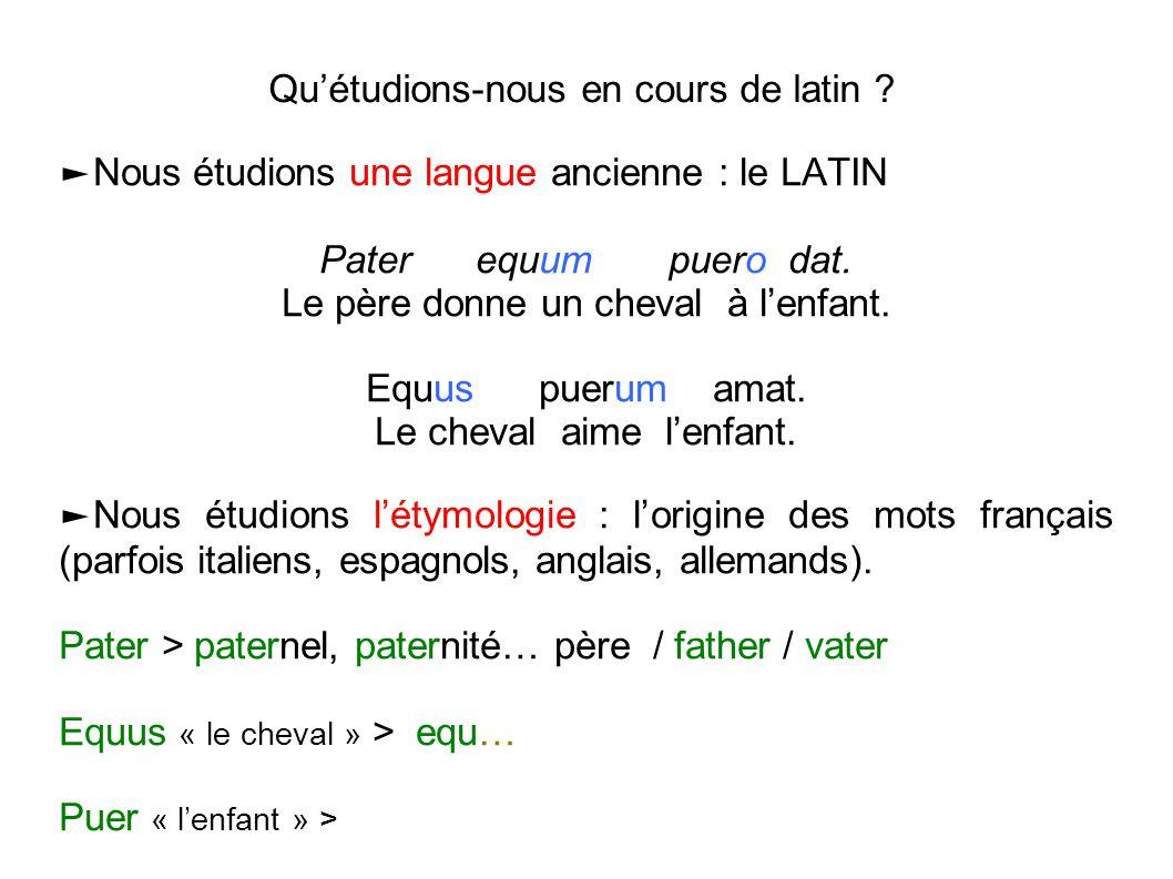 Qu'étudions-nous en cours de latin ? ►Nous étudions une langue ancienne : le LATIN Pater equum puero dat. Le père donne un cheval à l'enfant. Equus pu
