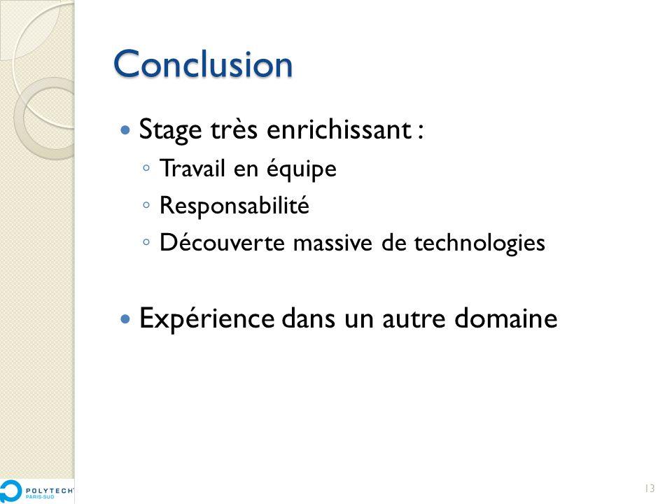 Conclusion  Stage très enrichissant : ◦ Travail en équipe ◦ Responsabilité ◦ Découverte massive de technologies  Expérience dans un autre domaine 13