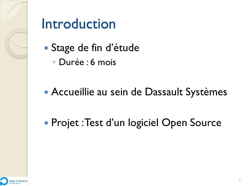 Introduction  Stage de fin d'étude ◦ Durée : 6 mois  Accueillie au sein de Dassault Systèmes  Projet : Test d'un logiciel Open Source 2