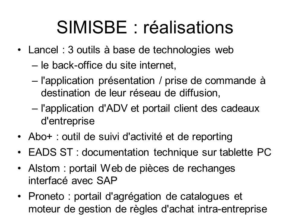 SIMISBE : réalisations •Lancel : 3 outils à base de technologies web –le back-office du site internet, –l'application présentation / prise de commande