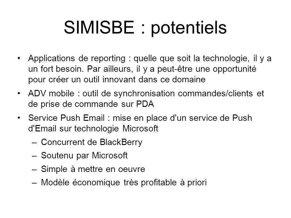 SIMISBE : potentiels •Applications de reporting : quelle que soit la technologie, il y a un fort besoin. Par ailleurs, il y a peut-être une opportunit