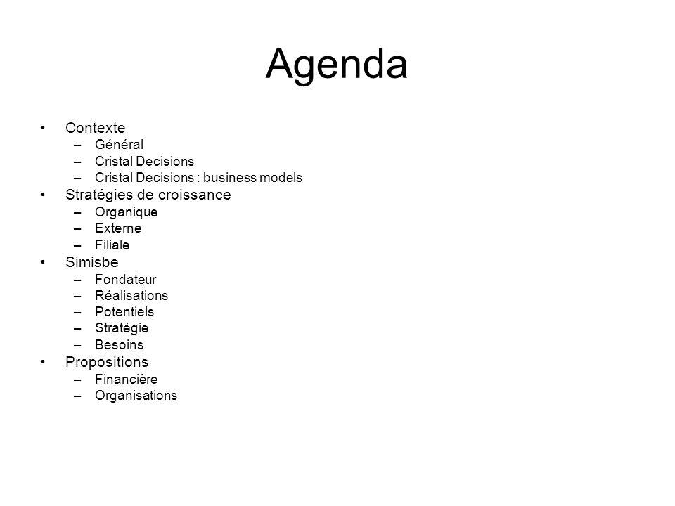 Agenda •Contexte –Général –Cristal Decisions –Cristal Decisions : business models •Stratégies de croissance –Organique –Externe –Filiale •Simisbe –Fon