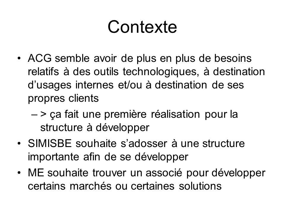 Contexte •ACG semble avoir de plus en plus de besoins relatifs à des outils technologiques, à destination d'usages internes et/ou à destination de ses