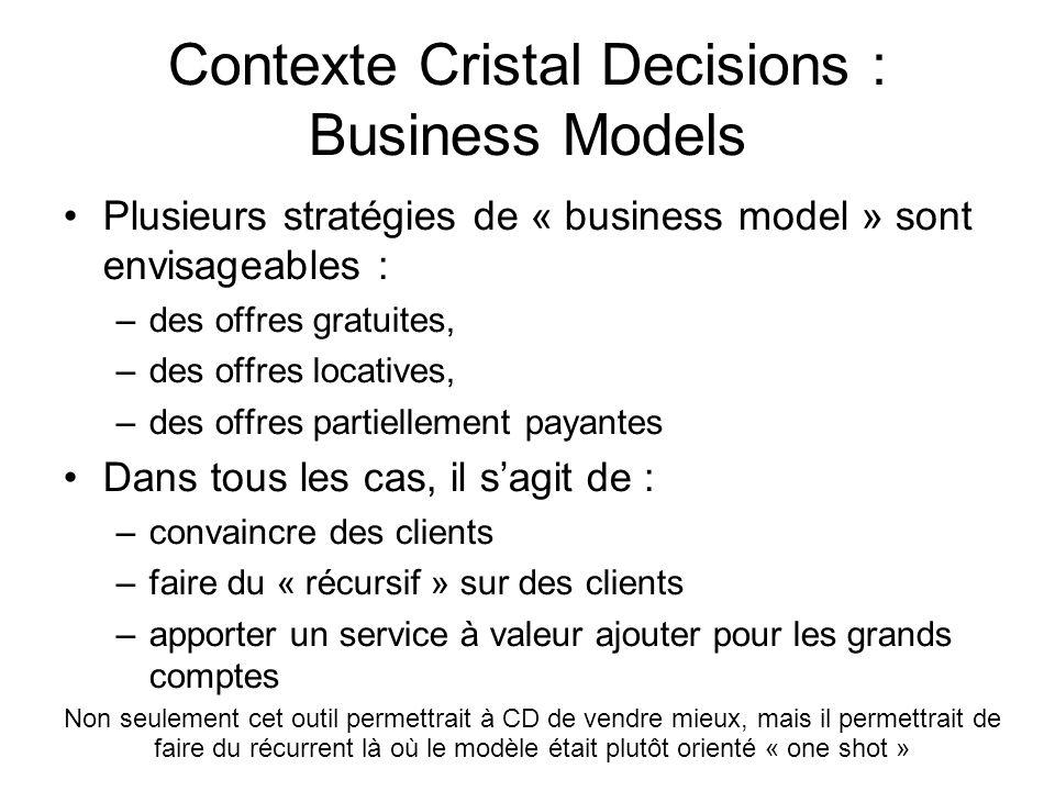 Contexte Cristal Decisions : Business Models •Plusieurs stratégies de « business model » sont envisageables : –des offres gratuites, –des offres locat