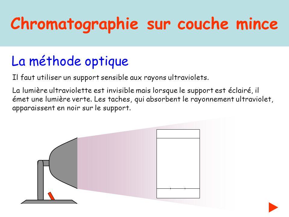 Chromatographie sur couche mince La méthode optique Il faut utiliser un support sensible aux rayons ultraviolets. La lumière ultraviolette est invisib