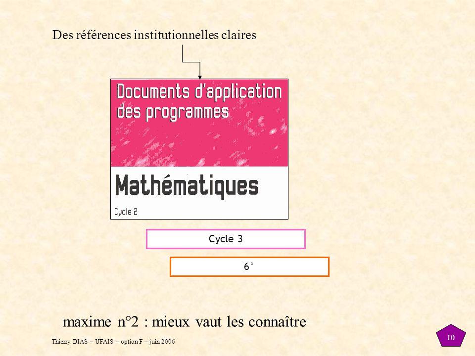 Thierry DIAS – UFAIS – option F – juin 2006 10 Cycle 3 6° Des références institutionnelles claires maxime n°2 : mieux vaut les connaître