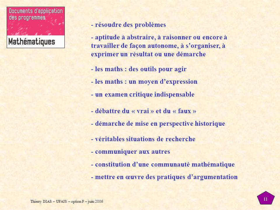 Thierry DIAS – UFAIS – option F – juin 2006 11 - résoudre des problèmes - aptitude à abstraire, à raisonner ou encore à travailler de façon autonome, à s'organiser, à exprimer un résultat ou une démarche - les maths : des outils pour agir - les maths : un moyen d'expression - un examen critique indispensable - débattre du « vrai » et du « faux » - démarche de mise en perspective historique - véritables situations de recherche - communiquer aux autres - constitution d'une communauté mathématique - mettre en œuvre des pratiques d'argumentation