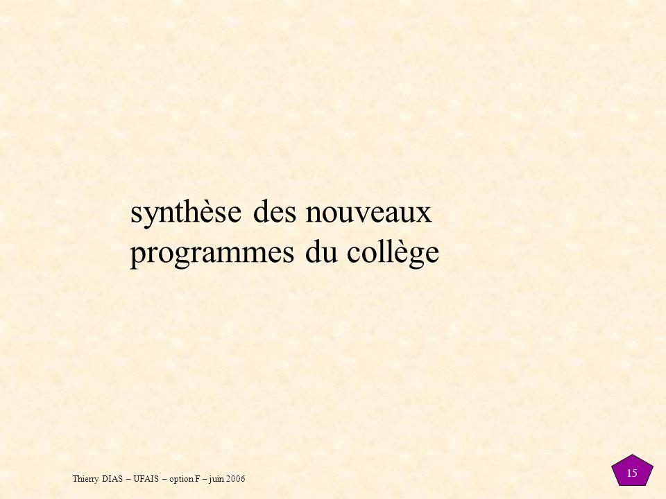 Thierry DIAS – UFAIS – option F – juin 2006 15 synthèse des nouveaux programmes du collège