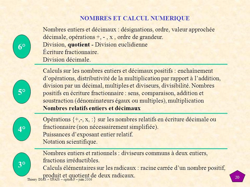 Thierry DIAS – UFAIS – option F – juin 2006 20 NOMBRES ET CALCUL NUMERIQUE Nombres entiers et décimaux : désignations, ordre, valeur approchée décimale, opérations +, -, x, ordre de grandeur.