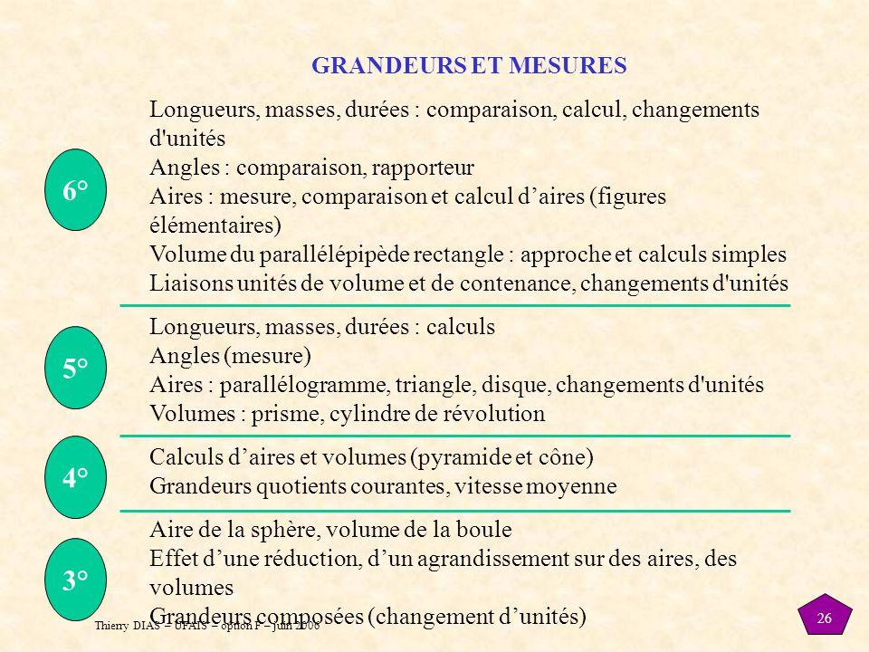 Thierry DIAS – UFAIS – option F – juin 2006 26 GRANDEURS ET MESURES Longueurs, masses, durées : comparaison, calcul, changements d'unités Angles : com