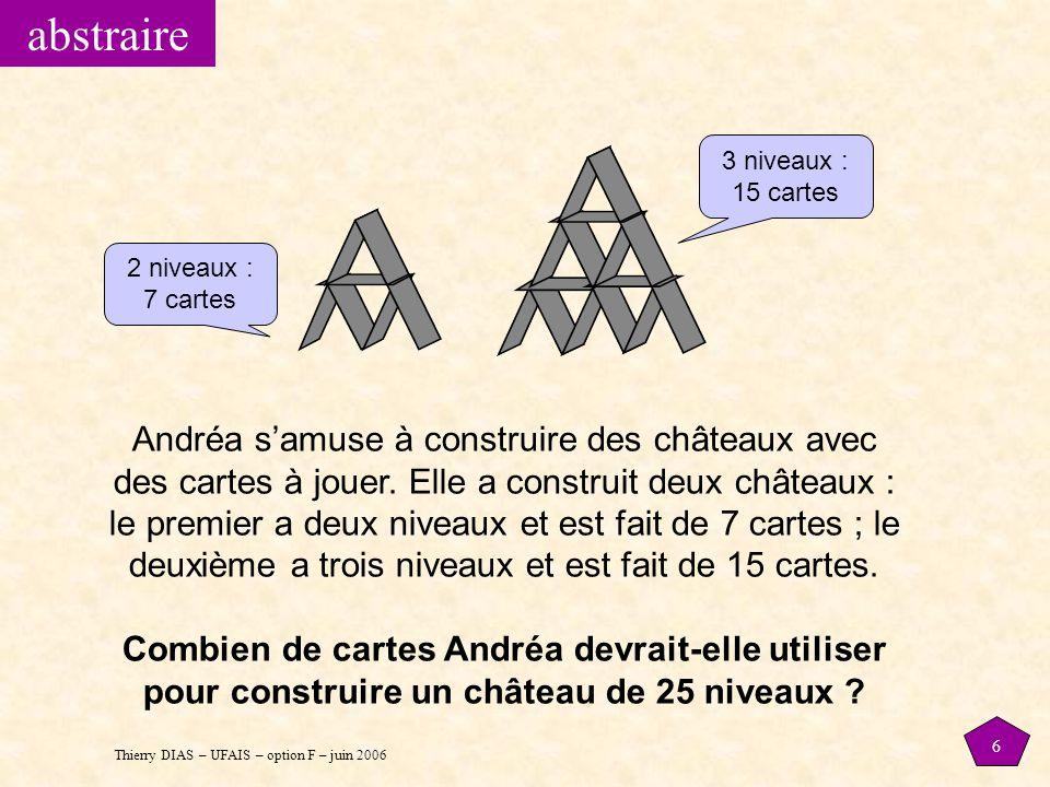 Thierry DIAS – UFAIS – option F – juin 2006 6 Andréa s'amuse à construire des châteaux avec des cartes à jouer. Elle a construit deux châteaux : le pr