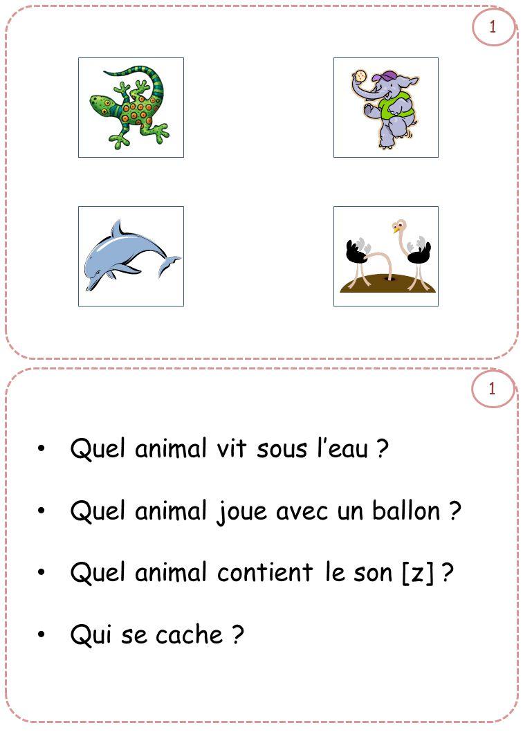 1 1 • Quel animal vit sous l'eau ? • Quel animal joue avec un ballon ? • Quel animal contient le son [z] ? • Qui se cache ?