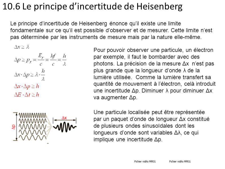 10.6 Le principe d'incertitude de Heisenberg Pour pouvoir observer une particule, un électron par exemple, il faut le bombarder avec des photons. La p