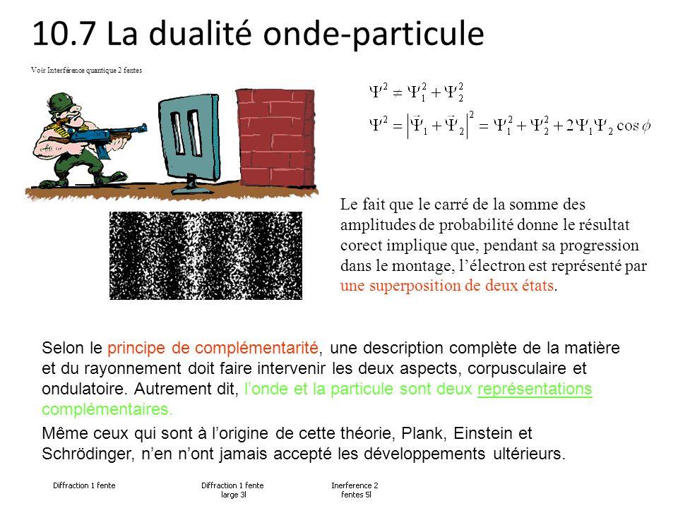 10.7 La dualité onde-particule Le fait que le carré de la somme des amplitudes de probabilité donne le résultat corect implique que, pendant sa progre