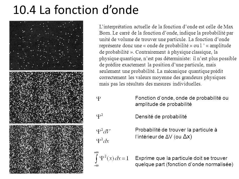 10.4 La fonction d'onde L'interprétation actuelle de la fonction d'onde est celle de Max Born. Le carré de la fonction d'onde, indique la probabilité