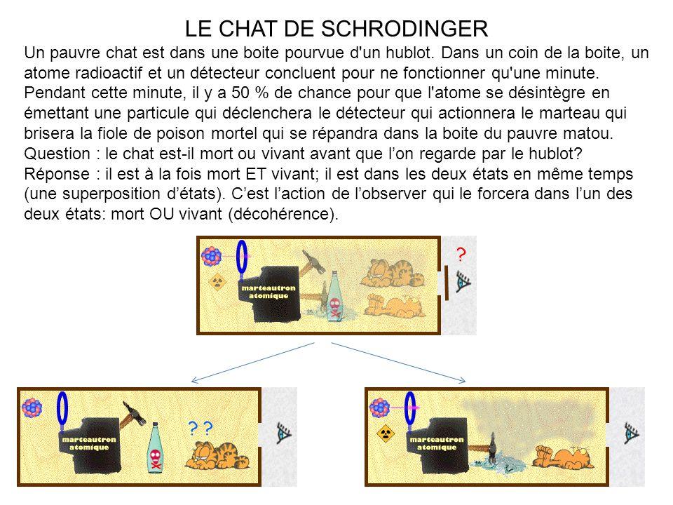 LE CHAT DE SCHRODINGER Un pauvre chat est dans une boite pourvue d'un hublot. Dans un coin de la boite, un atome radioactif et un détecteur concluent