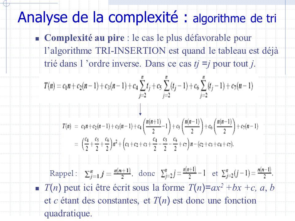 Analyse de la complexité : algorithme de tri  Complexité au pire : le cas le plus défavorable pour l'algorithme TRI-INSERTION est quand le tableau est déjà trié dans l 'ordre inverse.