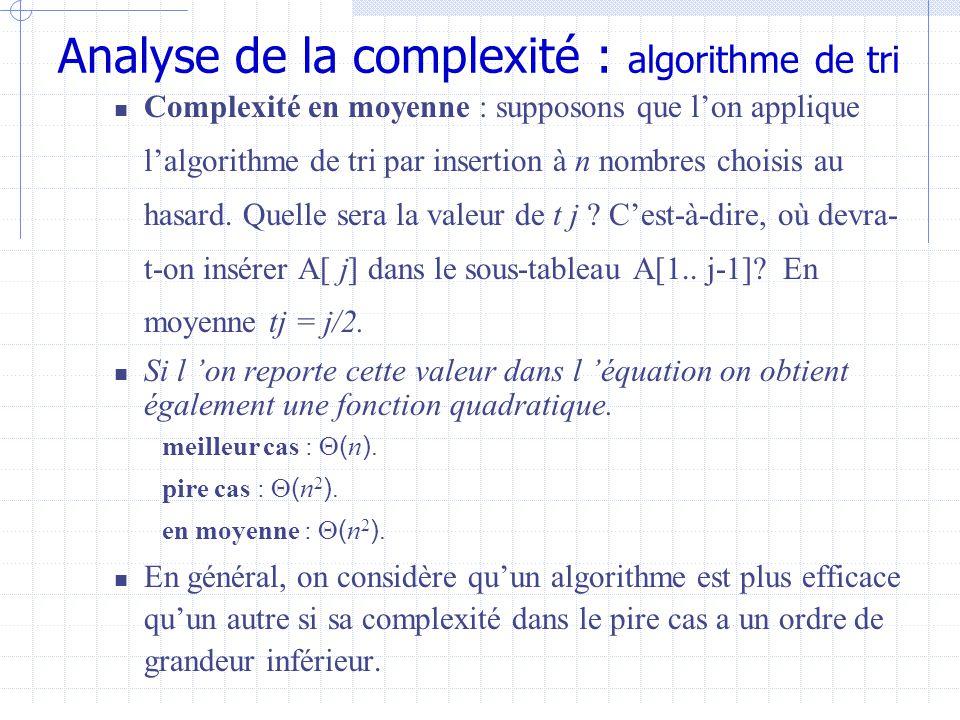 Analyse de la complexité : algorithme de tri  Complexité en moyenne : supposons que l'on applique l'algorithme de tri par insertion à n nombres choisis au hasard.