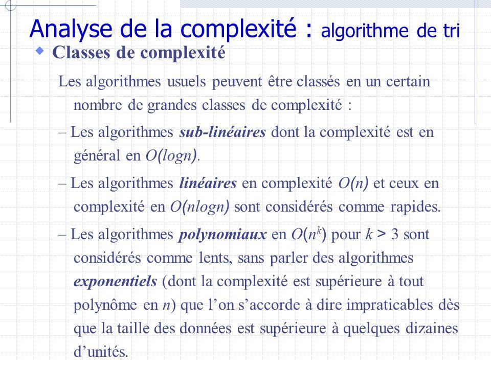 Analyse de la complexité : algorithme de tri  Classes de complexité Les algorithmes usuels peuvent être classés en un certain nombre de grandes classes de complexité : – Les algorithmes sub-linéaires dont la complexité est en général en O ( logn ).