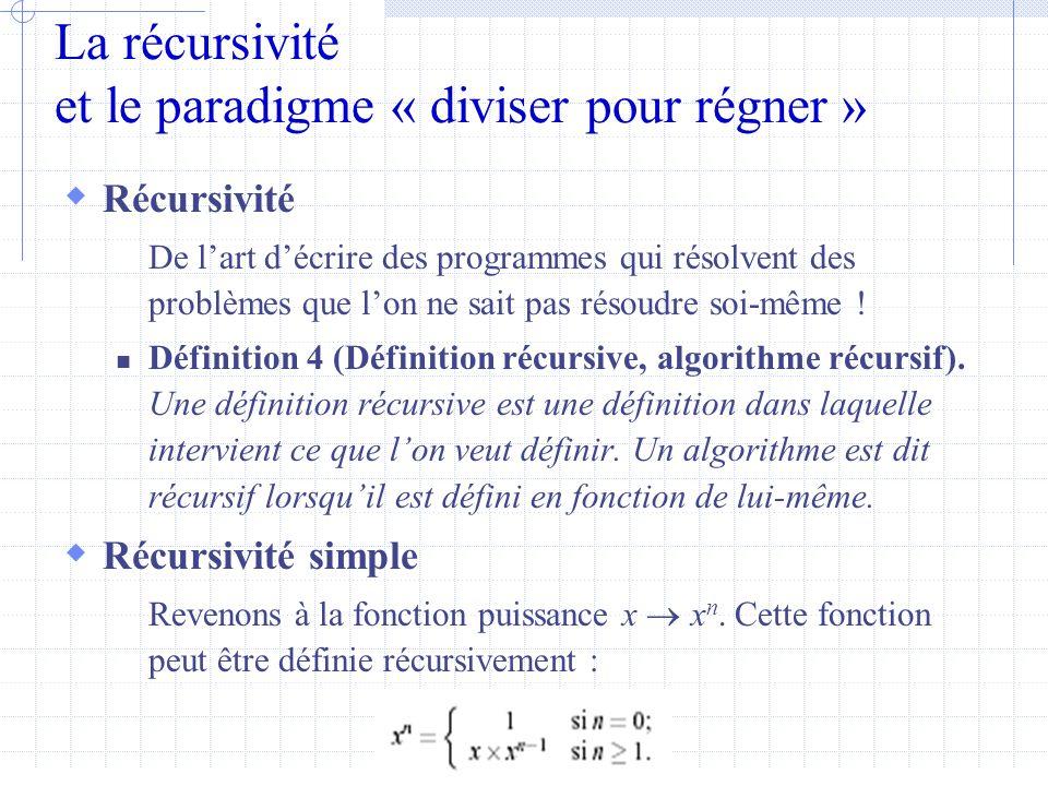 La récursivité et le paradigme « diviser pour régner »  Récursivité De l'art d'écrire des programmes qui résolvent des problèmes que l'on ne sait pas résoudre soi-même .