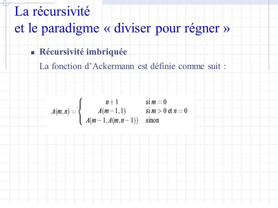 La récursivité et le paradigme « diviser pour régner »  Récursivité imbriquée La fonction d'Ackermann est définie comme suit :