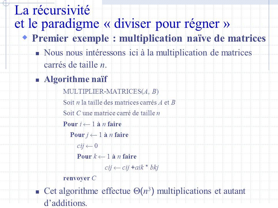 La récursivité et le paradigme « diviser pour régner »  Premier exemple : multiplication naïve de matrices  Nous nous intéressons ici à la multiplication de matrices carrés de taille n.