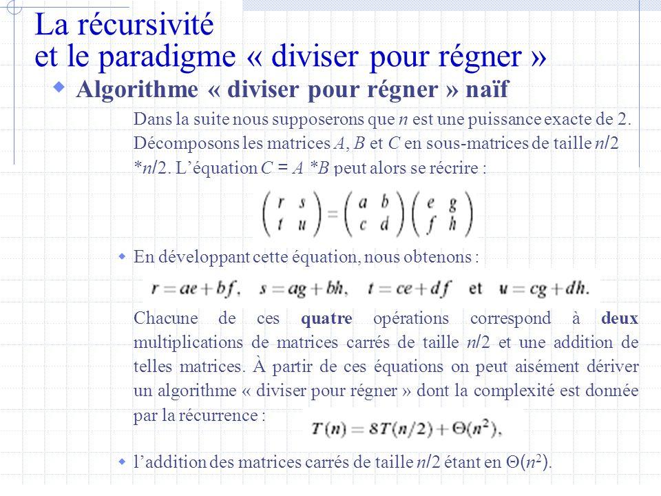 La récursivité et le paradigme « diviser pour régner »  Algorithme « diviser pour régner » naïf Dans la suite nous supposerons que n est une puissance exacte de 2.