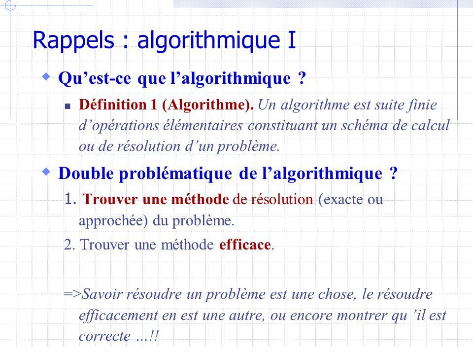 Rappels : algorithmique I  Qu'est-ce que l'algorithmique .