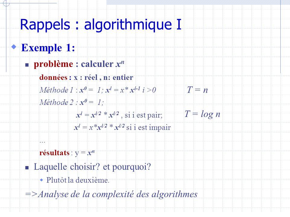 Rappels : algorithmique I  Exemple 1:  problème : calculer x n données : x : réel, n: entier Méthode 1 : x 0 = 1; x i = x* x i-1 i >0 Méthode 2 : x 0 = 1; x i = x i/2 * x i/2, si i est pair; x i = x*x i/2 * x i/2 si i est impair...
