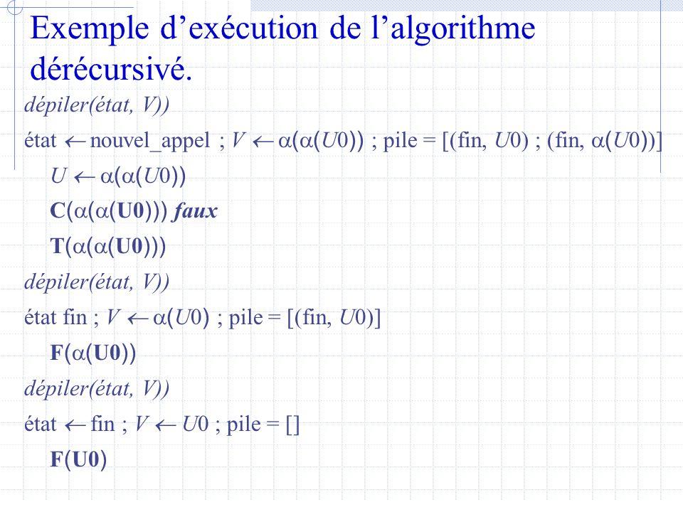 Exemple d'exécution de l'algorithme dérécursivé.