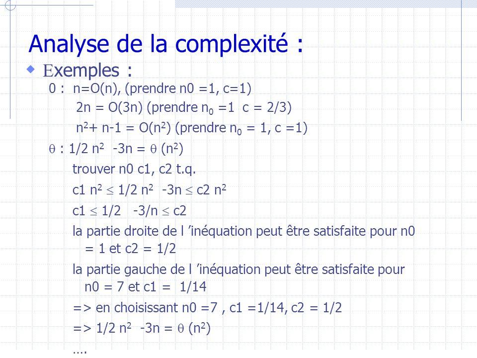 Analyse de la complexité :  E xemples : 0 : n=O(n), (prendre n0 =1, c=1) 2n = O(3n) (prendre n 0 =1 c = 2/3) n 2 + n-1 = O(n 2 ) (prendre n 0 = 1, c =1)  : 1/2 n 2 -3n =  (n 2 ) trouver n0 c1, c2 t.q.