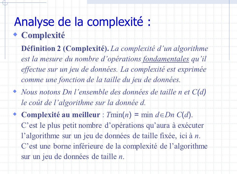 Analyse de la complexité :  Complexité Définition 2 (Complexité).