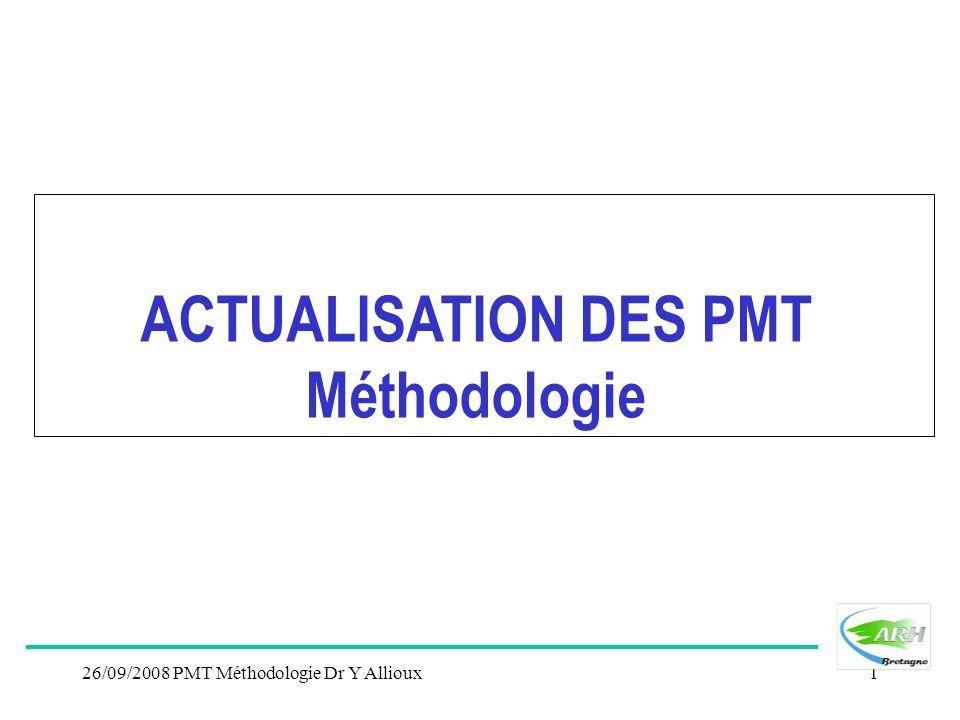 26/09/2008 PMT Méthodologie Dr Y Allioux1 ACTUALISATION DES PMT Méthodologie