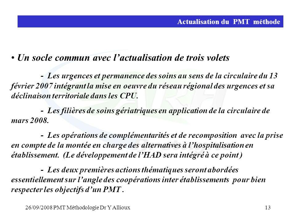 26/09/2008 PMT Méthodologie Dr Y Allioux13 Actualisation du PMT méthode • Un socle commun avec l'actualisation de trois volets - Les urgences et perma