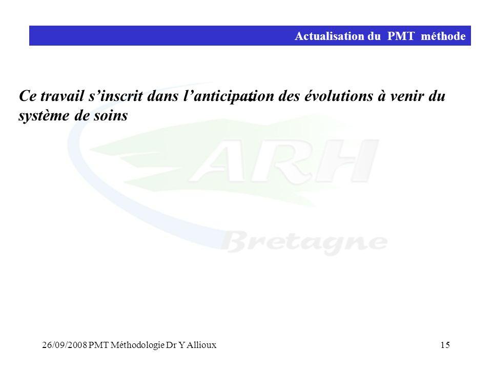 26/09/2008 PMT Méthodologie Dr Y Allioux15 Actualisation du PMT méthode Ce travail s'inscrit dans l'anticipation des évolutions à venir du système de soins