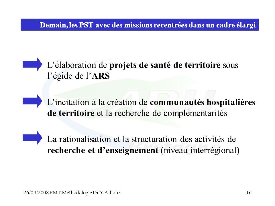 26/09/2008 PMT Méthodologie Dr Y Allioux16 Demain, les PST avec des missions recentrées dans un cadre élargi L'élaboration de projets de santé de terr