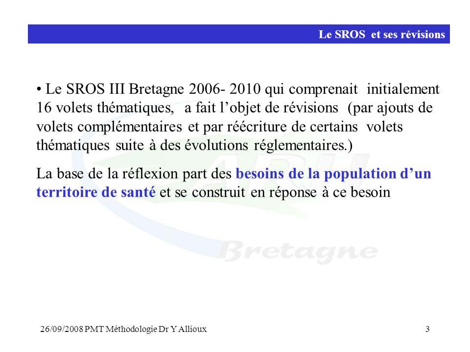 26/09/2008 PMT Méthodologie Dr Y Allioux3 • Le SROS III Bretagne 2006- 2010 qui comprenait initialement 16 volets thématiques, a fait l'objet de révisions (par ajouts de volets complémentaires et par réécriture de certains volets thématiques suite à des évolutions réglementaires.) La base de la réflexion part des besoins de la population d'un territoire de santé et se construit en réponse à ce besoin Le SROS et ses révisions