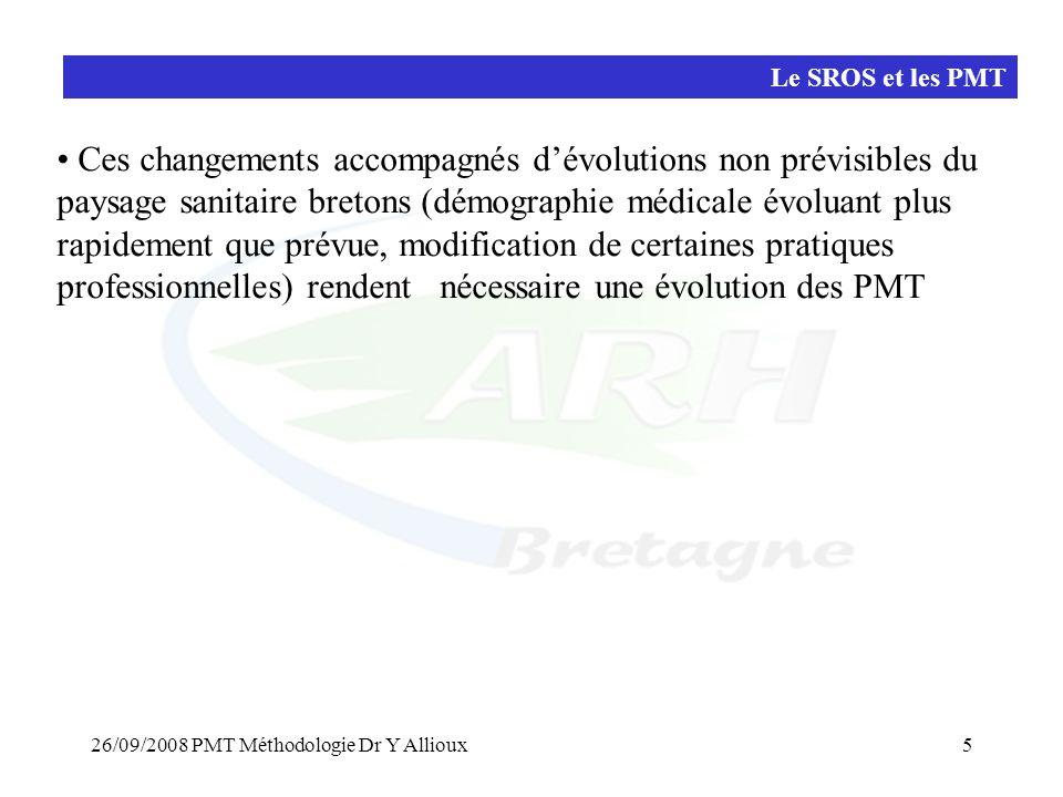 26/09/2008 PMT Méthodologie Dr Y Allioux5 Le SROS et les PMT • Ces changements accompagnés d'évolutions non prévisibles du paysage sanitaire bretons (