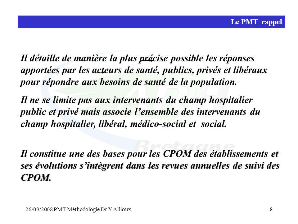 26/09/2008 PMT Méthodologie Dr Y Allioux9 Actualisation du PMT méthode l'ARH Bretagne propose un accompagnement méthodologique a cette démarche d'actualisation • par une concertation large et volontariste en direction des CST, des fédérations hospitalières publics et privés, des usagers … • par la mise en place d'un groupe de travail méthodologique comprenant La cellule de coordination SROS de l'ARH (Mme AY.Even, Dr V.Sablonnière, Dr A.Fouard, Dr Y.Allioux) Les coordonnateurs de secteurs ARH Les chargés de mission des Conférences Sanitaires de Territoires Une équipe de l'EHESP +