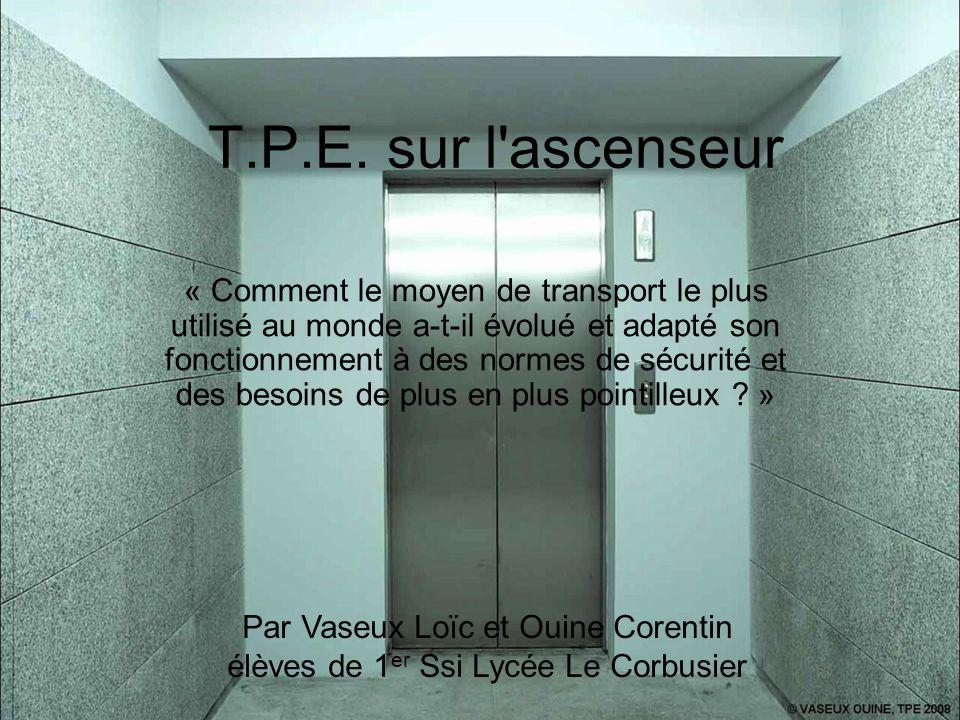 T.P.E. sur l'ascenseur « Comment le moyen de transport le plus utilisé au monde a-t-il évolué et adapté son fonctionnement à des normes de sécurité et