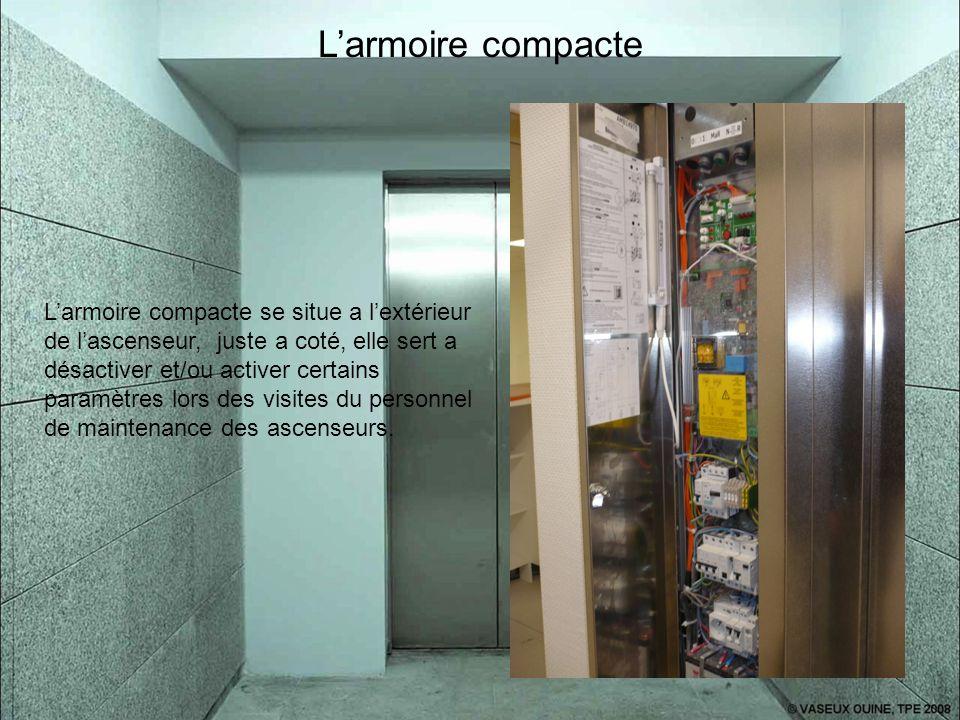 L'armoire compacte L'armoire compacte se situe a l'extérieur de l'ascenseur, juste a coté, elle sert a désactiver et/ou activer certains paramètres lo