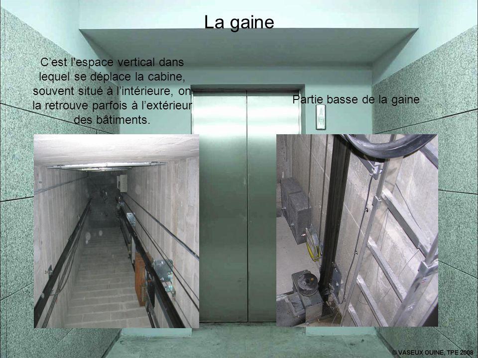 La gaine C'est l'espace vertical dans lequel se déplace la cabine, souvent situé à l'intérieure, on la retrouve parfois à l'extérieur des bâtiments. P