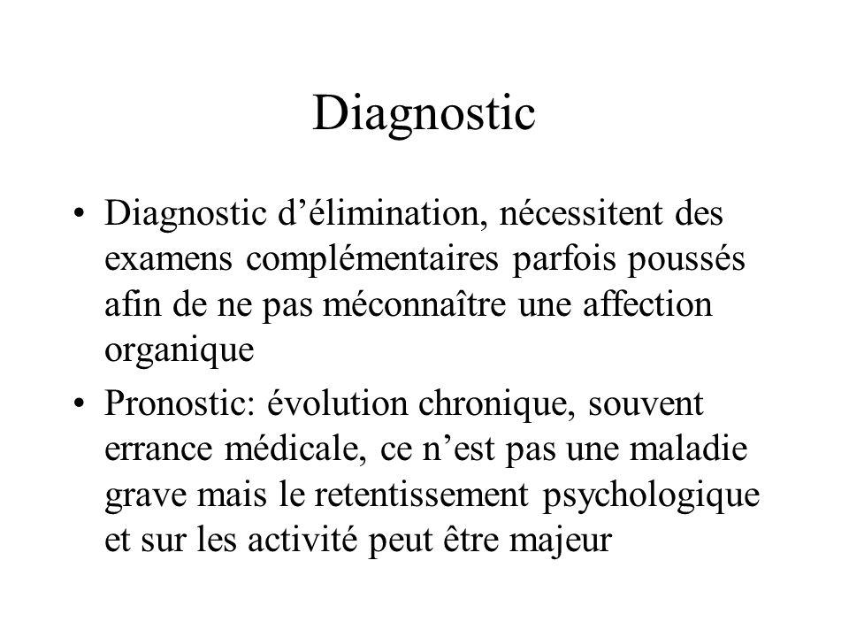 Diagnostic •Diagnostic d'élimination, nécessitent des examens complémentaires parfois poussés afin de ne pas méconnaître une affection organique •Pronostic: évolution chronique, souvent errance médicale, ce n'est pas une maladie grave mais le retentissement psychologique et sur les activité peut être majeur