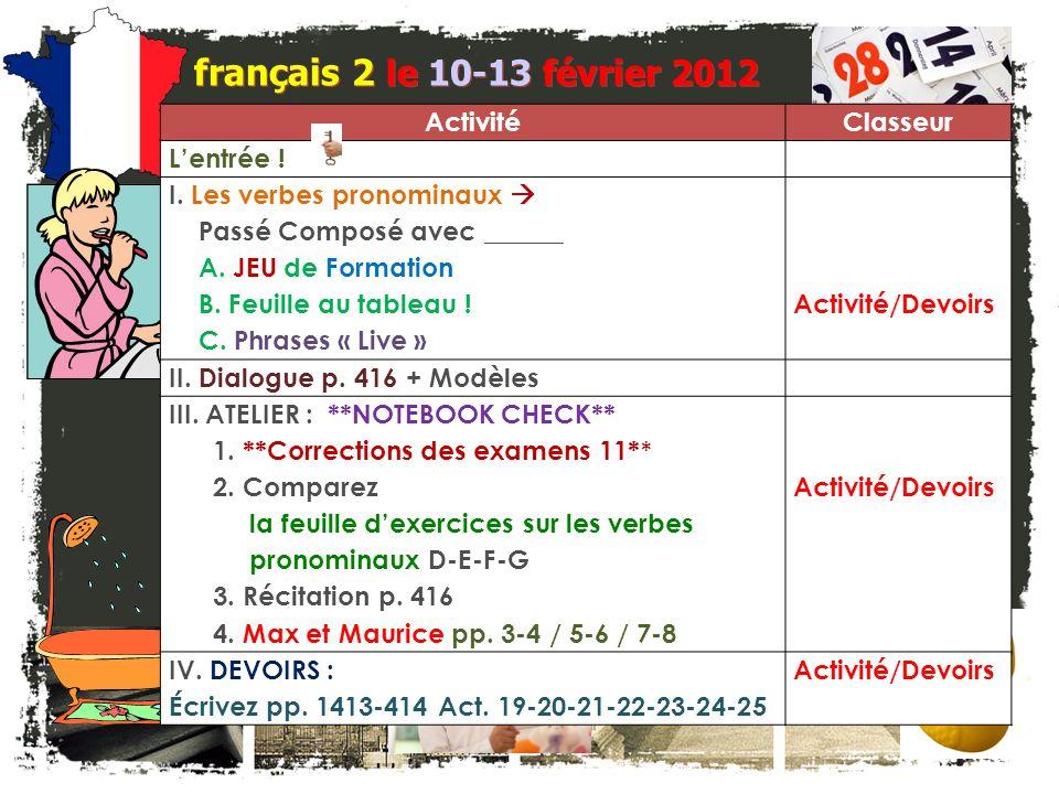 L'entrée.français 2 Quel est le problème. Corrigez la faute dans chacune de ces phrases.