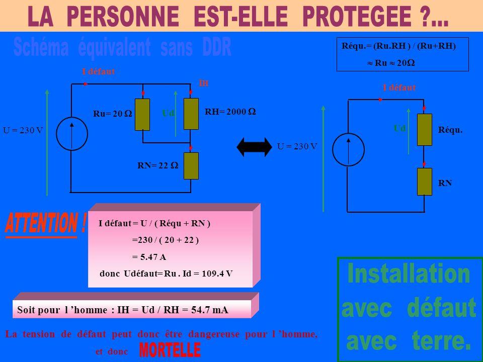 V1 V2 V3 DDR DISJONCTEUR DIFFERENTIEL DE BRANCHEMENT E.D.F 500 mA MACHINE SOL DISJONCTEUR DIVISIONNAIRE L1 L2 L3 N RN = 22  RHRH 20kV / 400 V RU = 20