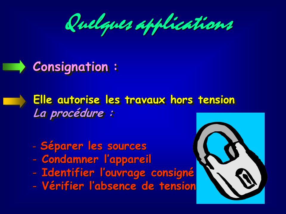 Quelques applications Opérations au voisinage : - avoir reçu une formation du type BxV - utiliser les équipements de protection individuelle (EPI) Ell