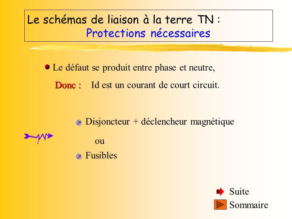 Le schéma de liaison à la terre TN : Sommaire Calcul de la tension de contact En appliquant la loi du pont diviseur de tension au schéma équivalent :